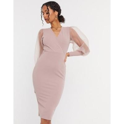 アックスパリ レディース ワンピース トップス AX Paris tulle sleeve dress in light pink
