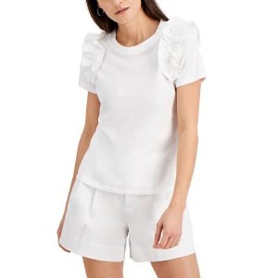 アイエヌシーインターナショナルコンセプト レディース カットソー トップス Cotton Ruffle-Trim T-Shirt, Created for Macy's Bright Wh
