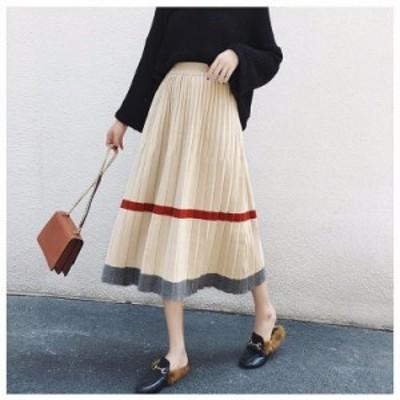 自分にご褒美 オルチャン服 オルチャン ファッション 韓国 レディースファッション ニットスカート  ロングフレアスカート 大きいサイズ