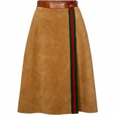 グッチ Gucci レディース ひざ丈スカート スカート High-rise suede midi skirt Camel/Mix