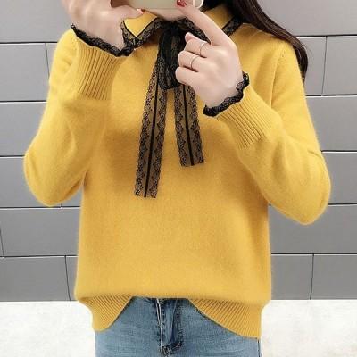 レースニットセーター蝶ネクタイ人形襟セーター女性ボトミングシャツ