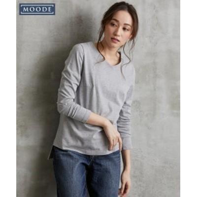Tシャツ カットソー 大きいサイズ レディース MOODE Vネック プルオーバー 杢グレー LL/3L ニッセン