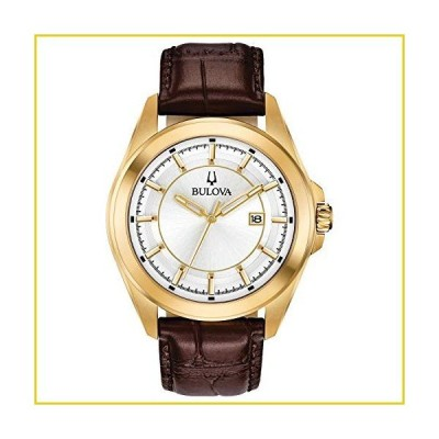 Bulova Classic Quartz Calendar Mens Watch, Stainless Steel with Brown Leather Strap, Gold-Tone (Model: 97B185)並行輸入品
