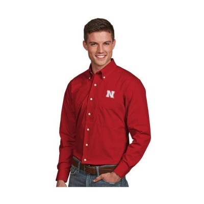 ユニセックス スポーツリーグ アメリカ大学スポーツ Nebraska Cornhuskers Antigua Dynasty Woven Long Sleeve Button-Down Shirt - Sc