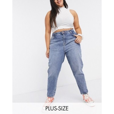 ニュールック レディース デニムパンツ ボトムス New Look Curve waist enhancing mom jeans in mid blue