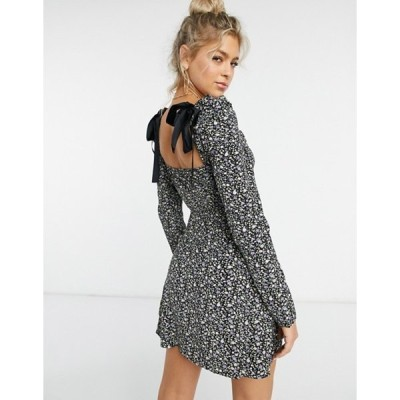 ナーナー レディース ワンピース トップス NaaNaa sweetheart neck puff sleeve dress in black floral