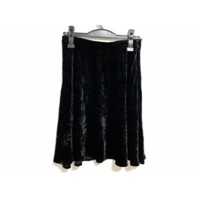 ミュウミュウ miumiu スカート サイズ40 M レディース - 黒 ひざ丈/ベロア【中古】20201207