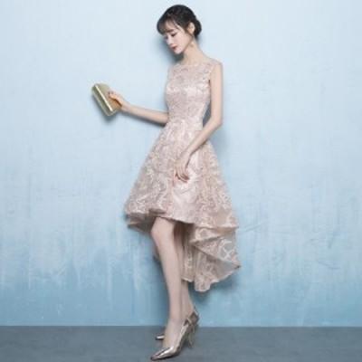 人気新作 お揃いドレス ブライズメイドドレス 二次会 結婚式  ミディアム/ミモレ丈 編み上げ ゲストドレス 不規則