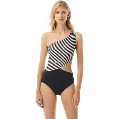 マイケル コース MICHAEL Michael Kors レディース ワンピース Logo Stripe One Shoulder Cutout with Zipper Side Bottoms, Removable Soft Cups Bone