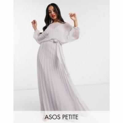 エイソス ASOS Petite レディース ワンピース マキシ丈 ワンピース・ドレス ASOS DESIGN Petite blouson pleated Maxi dress with self b