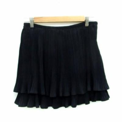 【中古】レイビームス Ray Beams スカート プリーツ ティアード ミニ丈 1 ネイビー 紺 /MS6 レディース