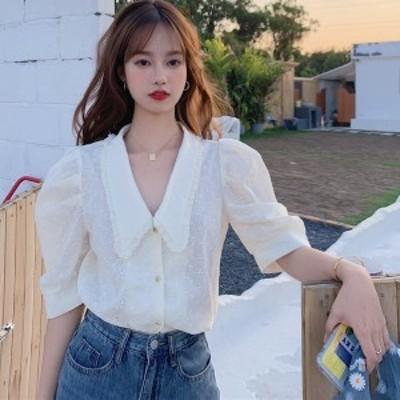 白ブラウス 半袖 韓国 ファッション 夏服 レディース パフスリーブ 夏 トップス レディース 刺繍レース 大人可愛い  フリル襟 ガーリー
