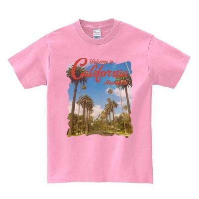【カリフォルニア・ヤシの木・サンセット】メンズ 半袖 Tシャツ