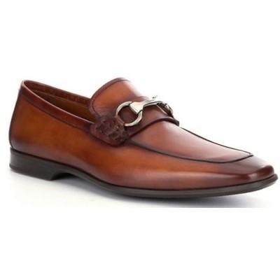 マグナーニ メンズ スリッポン・ローファー シューズ Men's Rafa 2 Leather Bit Buckle Detail Moc-Toe Dress Shoes