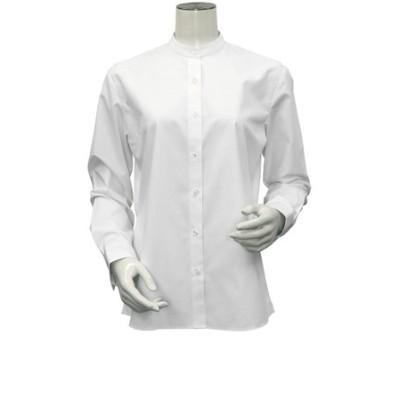 レディース ウィメンズシャツ 長袖 形態安定 スタンド衿 白×織柄 (透け防止)