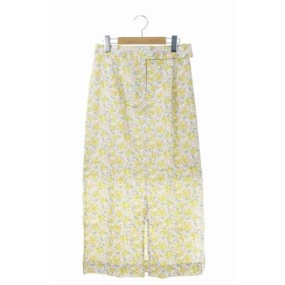 【中古】ルージュヴィフ Rouge vif Liberty Art Fabrics スカート ロング タイト 花柄 リバティープリント スリット 38 黄 ピンク /ES ■OS【ベクトル 古着】
