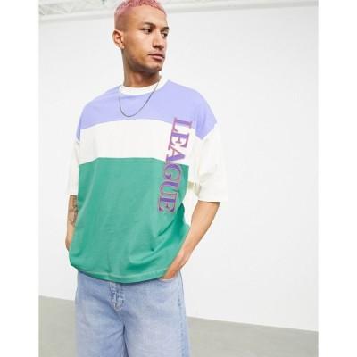 エイソス 半袖Tシャツ メンズ ASOS DESIGN oversized t-shirt in colour block with text print エイソス ASOS マルチカラー