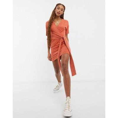 エイソス ASOS DESIGN レディース ワンピース ラップドレス ワンピース・ドレス Super Soft Short Sleeve Mini Wrap Dress Marl ジンジャー