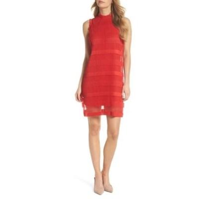 ジュリア ジョーダン レディース ワンピース トップス Stripe Pleated Chiffon Shift Dress RED