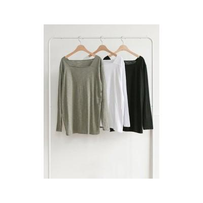 Ladies SALE【トップス】スクェアネックライン 長袖 ロング トップス Tシャツ  T-shirt 230