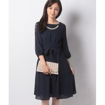 【アクシーズファム】 タックデザインドレス レディース ネイビー M axes femme