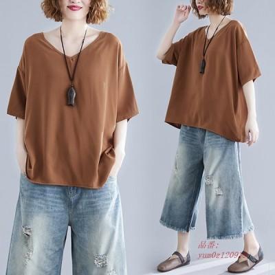 半袖Tシャツ カジュアル ミディアム丈 Vネック トップス 無地 レディース ビッグシルエット 大きいサイズ 半袖