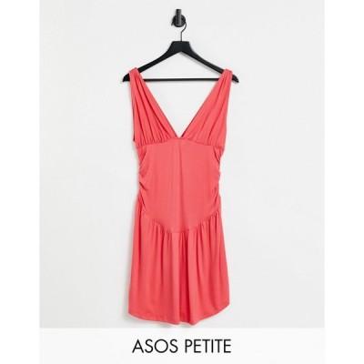 エイソス ミディドレス レディース ASOS DESIGN Petite plunge ruched waist curved hem skater mini dress in coral エイソス ASOS
