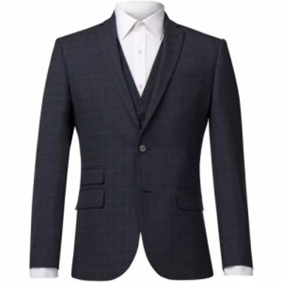 レーシング グリーン Racing Green メンズ スーツ・ジャケット アウター Check Tailored Jacket Blue