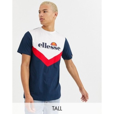 エレッセ メンズ Tシャツ トップス ellesse Tall Albico chevron block t-shirt in navy exclusive at ASOS