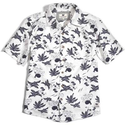大きいサイズ ファットアニマルズ シャツ 開襟クジラシャツ 半袖 大寸  コットン仕様 fat animals   5Lサイズ 白 192-3905