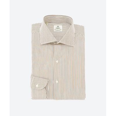 <Luigi Borrelli(Shirts & Tie)/ルイジ ボレッリ> セミワイドカラードレスシャツ 60ホワイト/ブラウン【三越伊勢丹/公式】