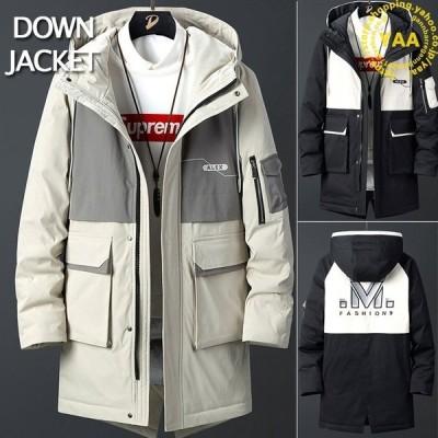 メンズロングダウンジャケットフード付き冬服厚手ゆったり暖かい防寒ダウン90%ダウンコートバックプリント