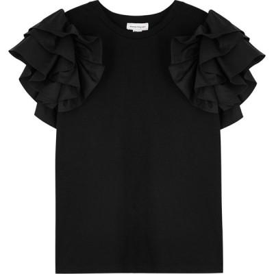 アレキサンダー マックイーン Alexander McQueen レディース Tシャツ トップス Black Ruffle-Trimmed Cotton T-Shirt Black
