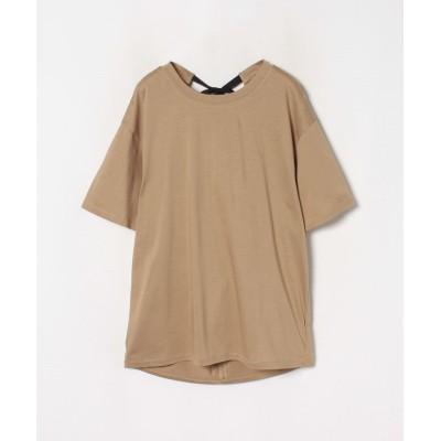 【ランバンオンブルー】 バックリボンTシャツ レディース ベージュ 38 LANVIN en Bleu
