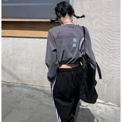 バックプリント Tシャツ 韓国 オルチャン ストリート ダンス 衣装 長袖 バルーン ショート丈 K-POP クロップド トップス  4T-511【メール便OK】