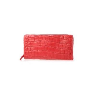 リアマッサ RIAMASA クロコダイル本革長財布(携帯入れポケット付き) (レッド)