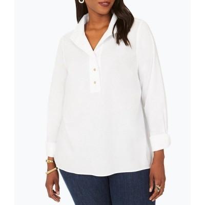 フォックスクラフト レディース シャツ トップス Plus Size Evelina Long Sleeve Stretch Cotton Blend Solid Blouse White