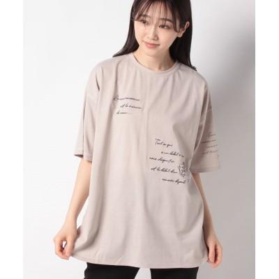 【オリーブデオリーブ】 いろんなとこ刺繍BIGTシャツ レディース グレージュ F OLIVE des OLIVE