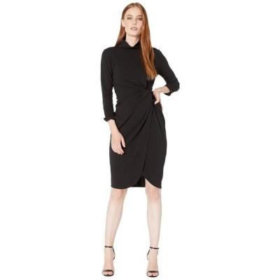 タハリ レディース ワンピース トップス Stretch Crepe Mock Neck Dress with Side Wrap and Cinched Sleeve Detail