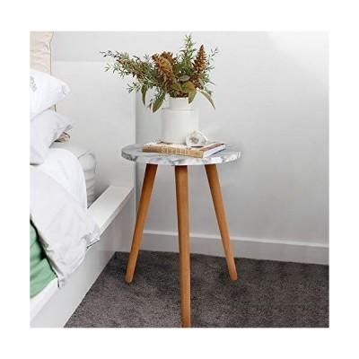 [新品]Round Side Table Marble Wooden with Tripod Wood Legs Stand Nightstand lamp Table Coffee Table End Table for Living Room Bedroom