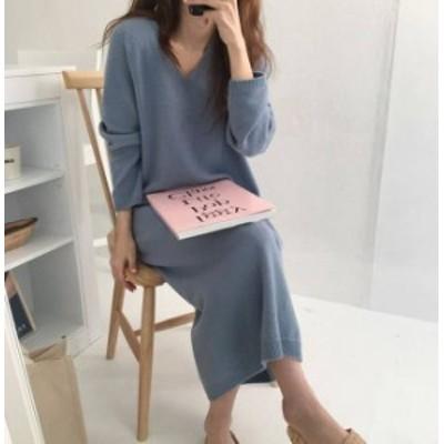 韓国 ファッション レディース ニットワンピース ニットワンピ ロング セーター Vネック ゆったり カジュアル 大人可愛い 無地 秋冬