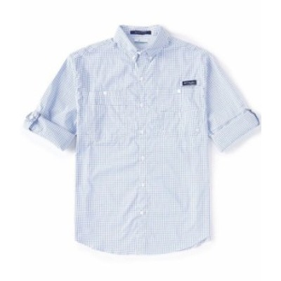 コロンビア メンズ シャツ トップス PFG Super Tamiami Gingham Roll-up Sleeve Woven Shirt Vivid Blue Gingham