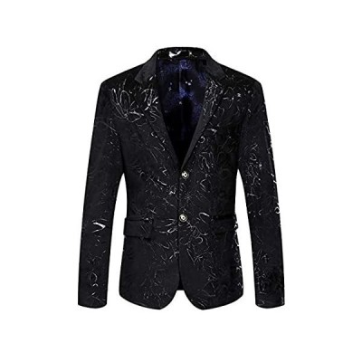 WULFUL Men's Luxury Casual Dress Floral Suit Notched Lapel Slim Fit Stylish