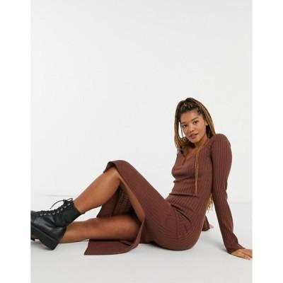 エイソス レディース ワンピース トップス ASOS DESIGN knitted dress with v-neck detail in brown