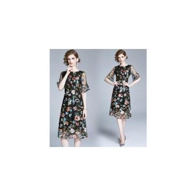 パーティードレス 結婚式ドレス ワンピース 花柄 刺繍 フォーマルドレス お呼ばれ ドレス 服 服装 ミセス ブライズメイド 大人 上品 20代30代40代 通販 着痩せ