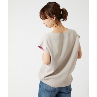 tシャツ Tシャツ 【オンラインストア限定】リバーシブル配色フレンチ袖Vネックサマーニット