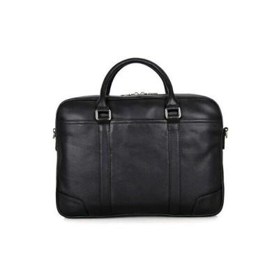 バッグ メンズ 16.5インチ Men's Genuine Leather Briefcase Laptop Shoulder bag Handbag Black AJ49