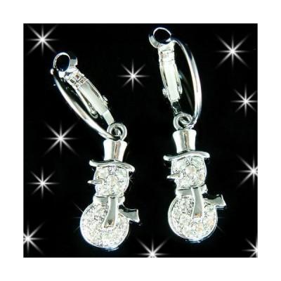 イヤリング インポート スワロフスキ クリスタル ジュエリー ~Frosty SNOWMAN made with Swarovski Crystal XMAS gift holiday hoop Earrings Cute