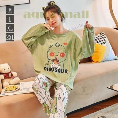 パジャマ ルームウェア レディース 秋 長袖 パジャマ 綿100% 大きいサイズ ロングパンツ 上下セット 可愛い パジャマ 女性 部屋着 韓国風 カジュアル ゆったり