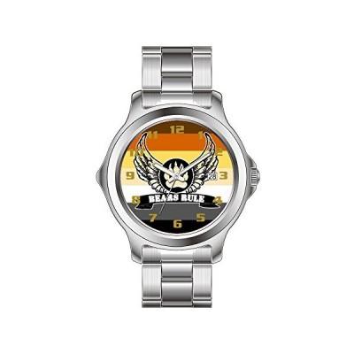 FDC Christmas Gift Watches Men's Fashion Japanese Quartz Date Stainless Steel Bracelet Watch Bear Pride Flag Bears Rule Angel Wings Bear Paw Wrist Wat